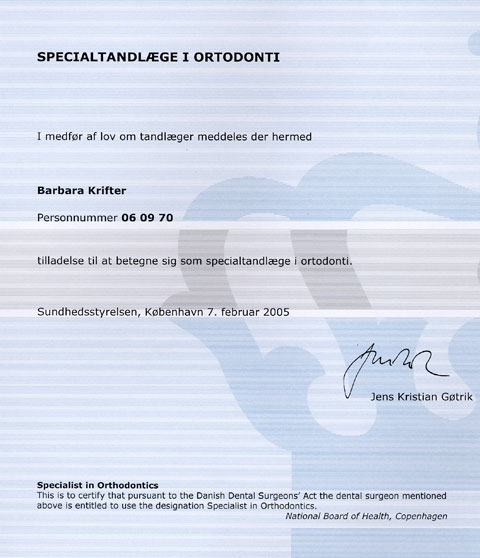 Certifikat for specialtandlæge Barbara Rank